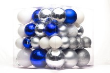 62PC of Blue, White and Silver Ball Ornaments