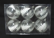 6pk Clear Ball Ornament with Silver Glitter Tree