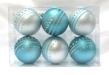 6pk Aqua and White Ball Ornament with Dot Design