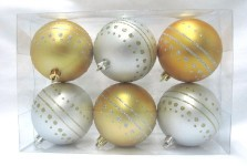 6pk Gold and Silver Ball Ornament with Dot Design