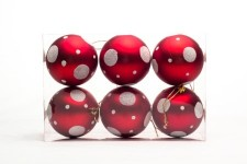 6pk Red and White Ball Ornament with Dot Design