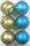 6pk White Ball Ornament with Mardi Gras Dot and Line Design