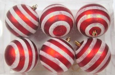 Red and White Ball Ornament with Line Design 6pk