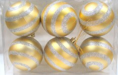 Gold Ball Ornament with Silver Glitter Line Design 6pk