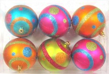 Mardi Gras Ball Ornament with Line and Dots Design 6pk
