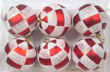 Red and White Ball Ornament with Plaid Design 6pk