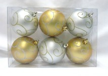 Gold and Silver Ball Ornament with Swirl Design 6pk