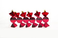 6 Pack Red and White Candy Ornament with Spiral Design