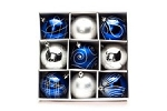 9 Pack 70mm Blue and Silver Ornaments