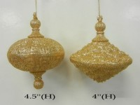 Gold Oval Ornaments 2pk