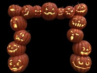 8' Jack-O-Lantern Arch Lit with LEDs