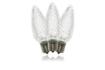 C9 Dimmable Faceted Pure White LED Retrofit Lamp