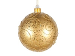 Gold Ball Ornament with Gold Glitter Design 120MM