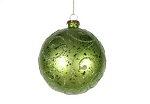 Lime Green Ball Ornament with Lime Green Glitter Design 120MM