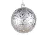 Silver Ball Ornament with Silver Glitter Design 120MM