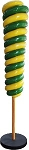 Green and Yellow Upside Down 7' Candy Cone Tree on Base