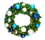 3' Blended Pine Wreath Decorated with the Arctic Ornament Collection Pre-Lit Warm White LEDS