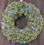 Battery Operated Sequoia 2' Pine Wreath Pre-Lit with Multi Colored LEDs
