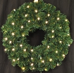 2' Sequoia Wreath Pre-Lit with Warm White LEDs