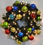 Sequoia 4' Wreath Decorated with The Fiesta Collection Pre-Lit Warm White LEDs