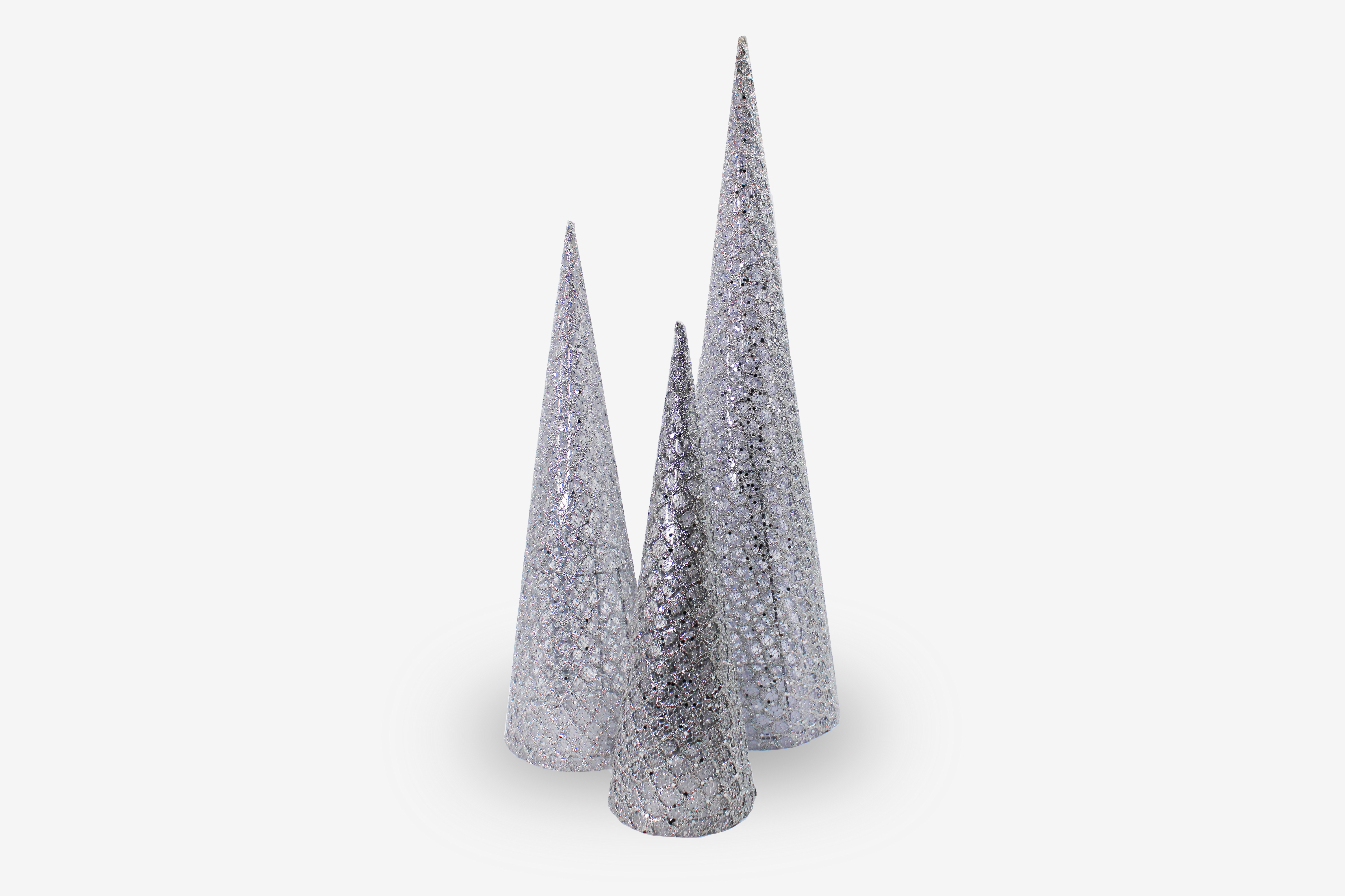 Silver Mesh Cone Tree 3 Pack