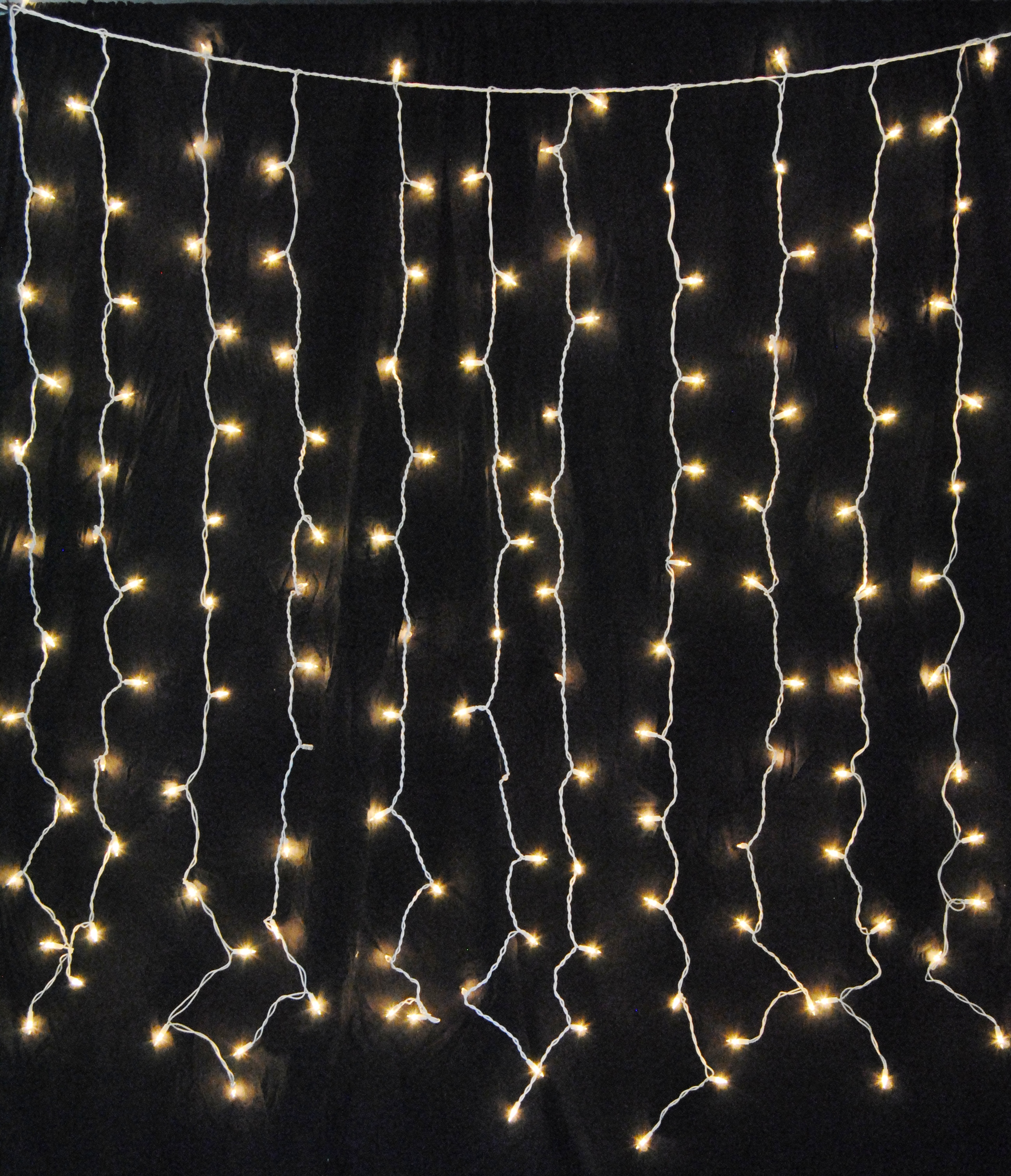 Warm White LED Curtain Lights 150 Twinkle Lights
