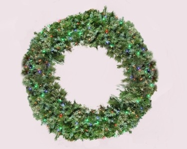 Pine 5' Wreath Lit with Multi Color Lights