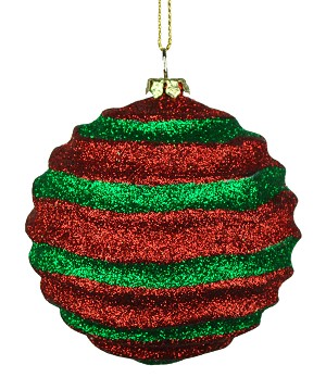 Red & Green Wavy Striped Ball Ornament 80mm