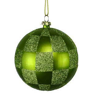 LIME GREEN & SAGE GREEN CHECKERED BALL ORNAMENT 80MM