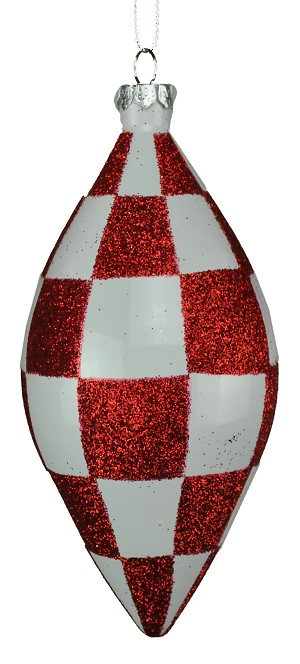 5' Checkered Red & White Teardrop Ornament