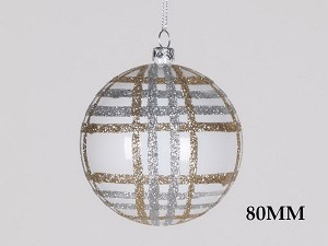 WHITE, CHAMPAGNE & SILVER 80MM STRIPED BALL ORNAMENT